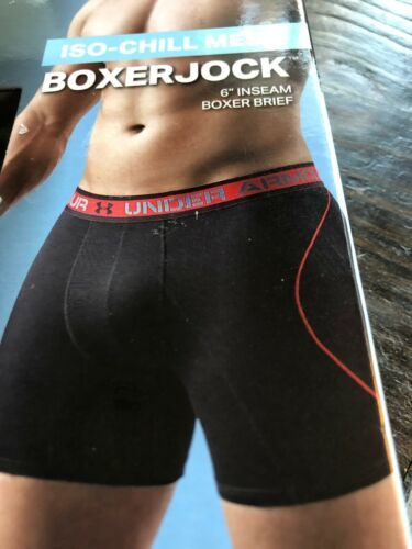 """UNDER ARMOUR Iso-Chill Mesh 6"""" Boxerjock LRG Black With Blue Logos Boxers Briefs"""