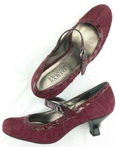 Franco Sarto NEW Womens Shoes Size 7 M Maroon Mary Janes Pumps Heels Sue... - $29.70