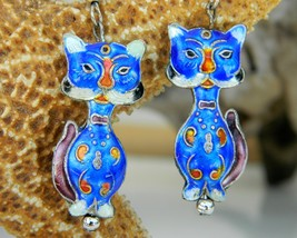 Chinese Cat Earrings Dangles Cobalt Blue Enamel Cloisonne - $18.95