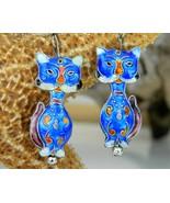 Chinese Cat Earrings Dangles Cobalt Blue Enamel Cloisonne - $18.95