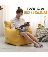 Bean Bag Sofa Cover Linen Cloth Seat Comfortable Cozy Game Chair Without... - $51.29