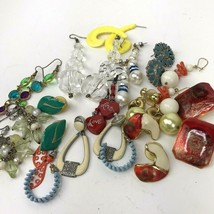 Vtg Earring lot pierced colorful post dangler boho hippy Mod mixed mater... - $15.83