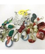 Vtg Earring lot pierced colorful post dangler boho hippy Mod mixed mater... - $15.83