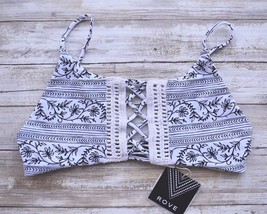 ROVE SWIMWEAR TALULA CROCHET DETAIL BOHO LACE UP BIKINI TOP (L) NWT $120 - $65.00