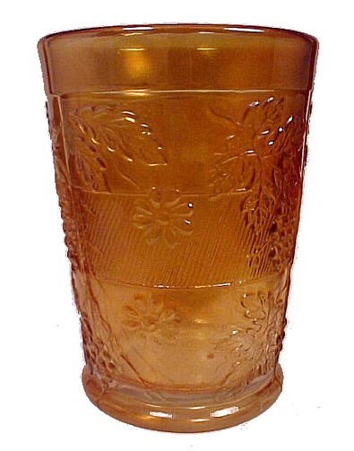 58613a fenton marigold carnival glass 4 inch water tumbler floral   grape variant drinking