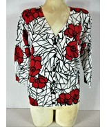 Fever womens Large 3/4 sleeve red black white button down stretch top (X... - $17.99