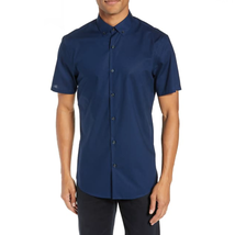Calibrate Micro Dot Button Down Slim Fit Sport Shirt Mens Size Medium Blue - $14.69
