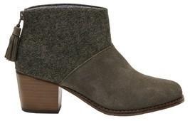 TOMS Women's Leila Bootie Tarmac Olive Suede/Herringbone Boot 6.5 B (M) - $87.99