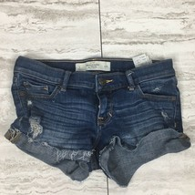 Abercrombie & Fitch Women's Denim Booty Shorts ~ Size 0 ~ Factory Distre... - $20.38