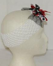 Unbranded White Headband Large Polka Dot Bow Red White and Black image 2