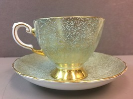 Footed Cup & Saucer by Tuscan Fine Bone China Gold Swirl Mint Green Back... - $47.11