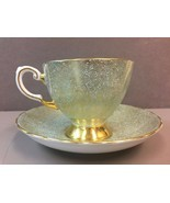 Footed Cup & Saucer by Tuscan Fine Bone China Gold Swirl Mint Green Back... - $62.13 CAD