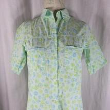 Fresh Produce Button Front Shirt Dress M Green Blue Flowers Maxi Long - $49.45
