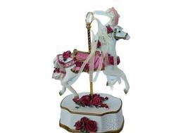 Carousel Horse Music Box Schuberts Lullaby Sankyo vtg figurine rose stal... - $72.57
