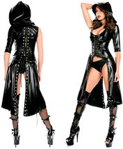 Women Faux Black Leather Punk Gothic Dress Lace up Catsuit Hooded Grim Reaper Co image 3