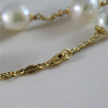 18K YELLOW GOLD BRACELET WITH VERY SHINY BAROQUE PEARLS 8.25 IN MADE IN ITALY image 4