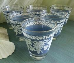 Hazel Atlas Mid Century Wedgewood Grapes Blue & White Shot Glasses Set of 6 - $20.00