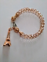 Handmade Pink Bracelet Paris Charm Rose Gold Jewelry - $10.99