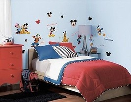 Mickey and Friends Peel and Stick Wall Stickers Appliques Decals SEALED NEW - $13.54