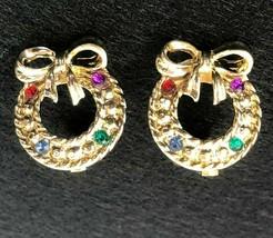 Christmas Wreath Rhinestone Gold Tone Clip Earrings 1960s Vintage - $24.74
