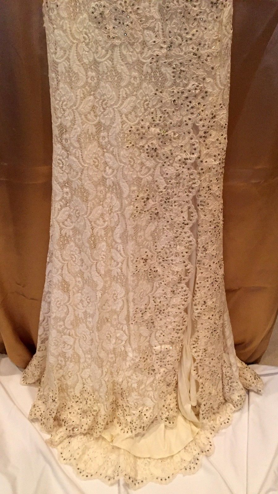 Sophisticated Sexy Strapless Beaded Champagne Lace Evening Gown Paparazzi 97001