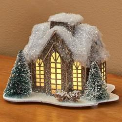 Lighted Miniature Winter Houses - Tall Windows