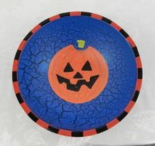 "Painted Wood Halloween Treat Bowl Blue Crackle Jack-O-Lantern 8"" - $15.83"