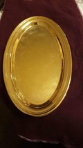 "Vintage Oval plate gold coated engraved  50th Anniversary 9"" x 5.4"" , Z3 - $28.28"