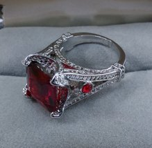 Silver Ring Square Ruby Red Color Stone SZ 6 1/2 image 3
