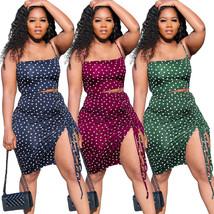 Halter Polka Dot Crop Top Elastic Waist Skirts Off Shoulder Sleeveless 2... - $29.99