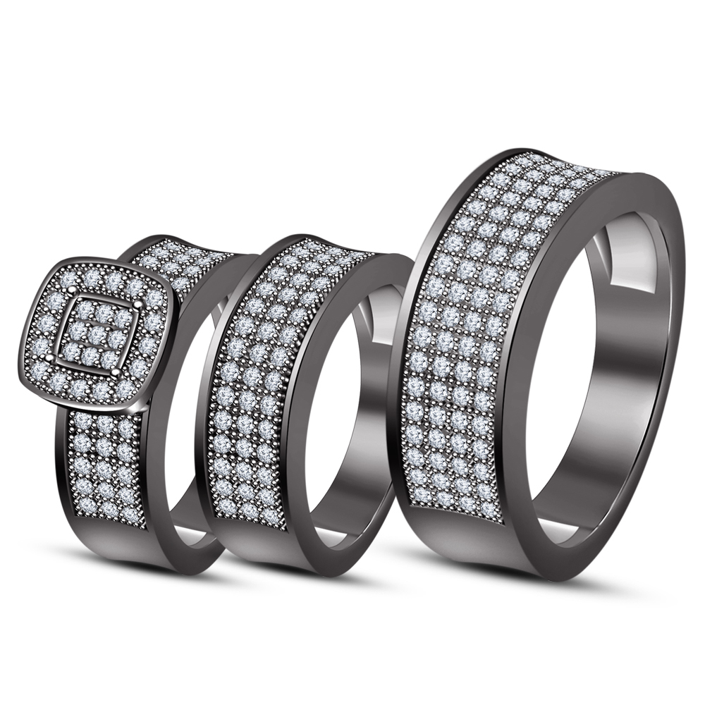 Primary image for Mens & Womens Wedding Diamond Trio Ring Set 14k Black Finish 925 Sterling Silver