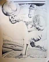 Vtg Nolan Ryan Texas Rangers artist pencil drawing sketch sign Wayne McD... - $275.83