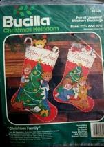 Vintage Bucilla Christmas Heirloom Jeweled Stitchery Stockings Pair #821... - $27.69