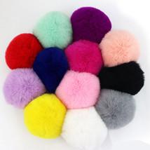 2pcs Rabbit Fur Ball Keychain Women Bag Pompom Keyring Key Ring - $3.99