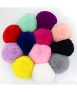 2pcs Rabbit Fur Ball Keychain Women Bag Pompom Keyring Key Ring - $3.99