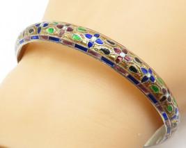 925 Sterling Silver - Vintage Enamel Floral Pattern Bangle Bracelet - B4982 - $74.76