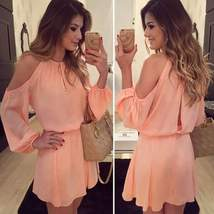 Pink Off Shoulder Chiffon Women Mini Dress - $29.00