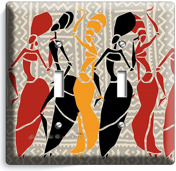 AFRICAN WOMEN TRIBAL DANCE 2 GANG LIGHT SWITCH WALL PLATE BEDROOM ROOM ART DECOR