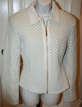St. John Coats Off White Marie Gray Basket Weave Woven Leather Jacket 8 ... - $699.99