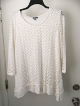 JM Collection Top Plus 0X Lacey Open Knit  Blouse With Lining  NWT - $21.26