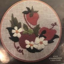 """Embroidery Stitchery Kit STRAWBERRIES 6"""" round frame Vintage 1978 Hoop-N... - $14.80"""