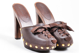 Miu Miu Brown Leather Wood Heel Lace Up Bow Front Gold-Tone Stud Clogs - $135.00