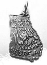 LOOK Atlanta Georgia State Map USA Sterling Silver 925 Jewelry Charm - $12.42