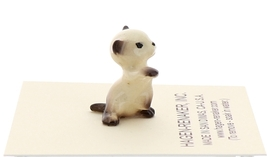 Hagen-Renaker Miniature Cat Figurine Tiny Siamese Kitten Boxing Seal Point image 4