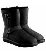 KIRKLAND Women's Skeepskin Shearling Boots Buckle Black Suede Sz 6 7 9 - $33.79