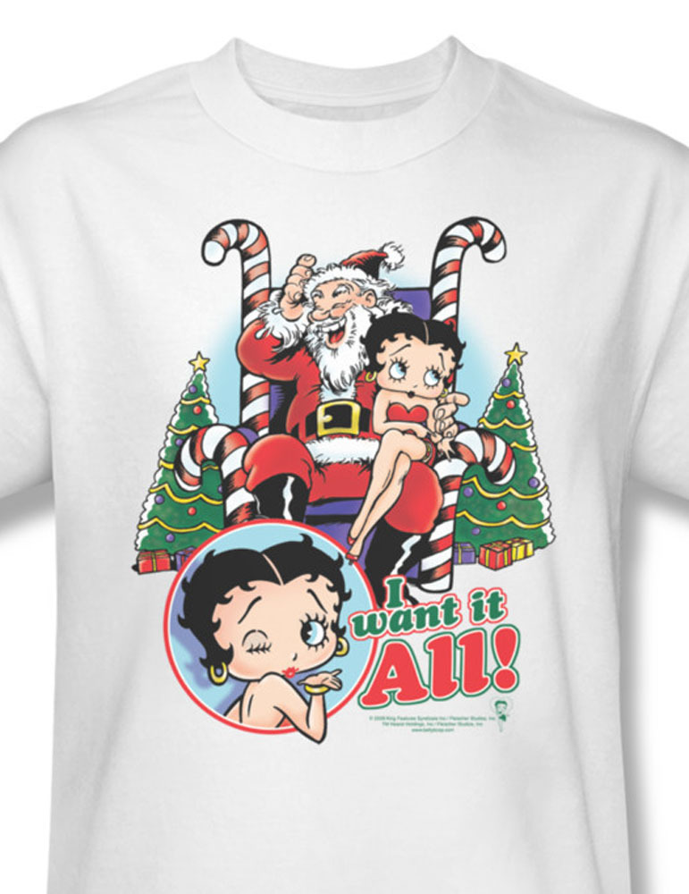 Betty boop i want it all christmas paramount felix comics for sale online graphic tee 1 bb621 at