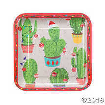 Christmas Cactus Square Paper Dinner Plates - $3.86