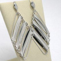 SOLID 18K WHITE GOLD LONG PENDANT EARRINGS WITH WORKED RHOMBUS, MADE IN ITALY image 2