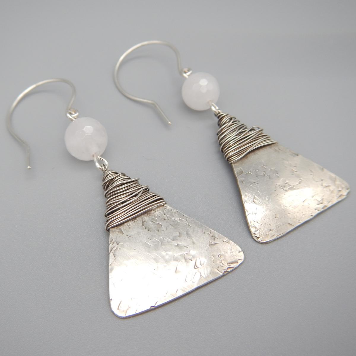 Rose Quartz Dangle Earrings, Sterling Silver Dangles, Natural Gemstones, Pink