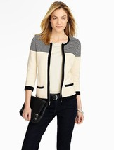 Talbots Black White Block And Stripes Zip Cardigan Sweater L 14 16 18 - $34.60